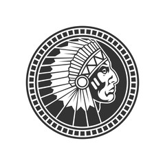 Stamp of american indian. Vector illustration