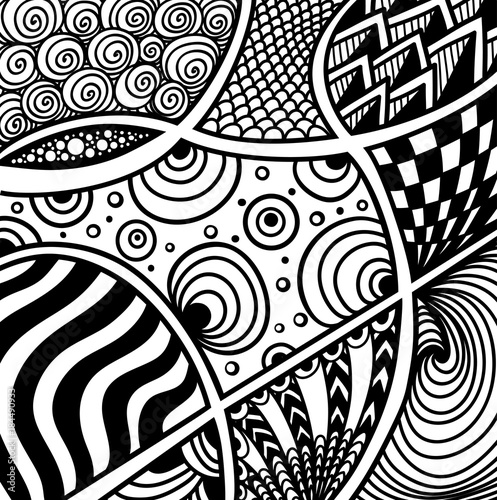 Abstract Handmade Zentangle Zendoodle Background Black On White For