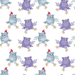 Christmas seamless pattern with the image of funny owls. Full color vector background.