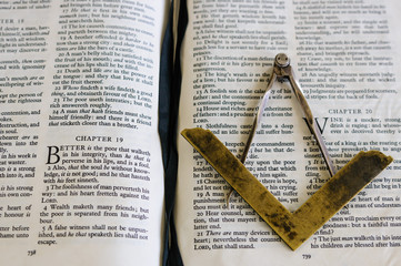 Compass and Set Square on a King James Version of the Bible in a junior blue Masonic Craft Room