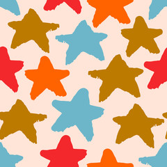 Colorful seamless pattern with hand drawn stars on pastel pink background. Sky background. Vector illustration.