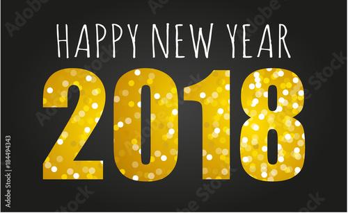 2018 gold glitter happy new year vector