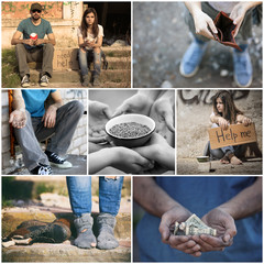 Collage with poor people in desperate need of help