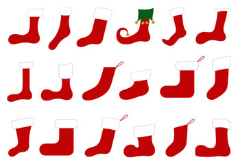 Illustration of different Christmas socks isolated on white