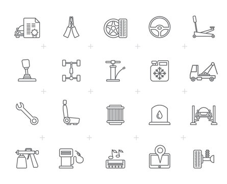 Line  Auto service and car part icons - vector icon set 2