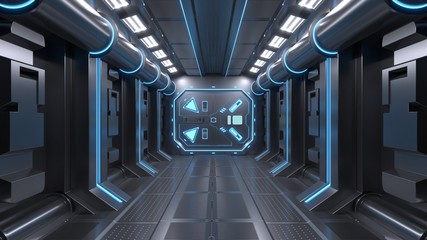 Science background fiction interior room sci-fi spaceship corridors blue ,3D rendering