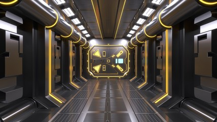 Science background fiction interior room sci-fi spaceship corridors yellow ,3D rendering