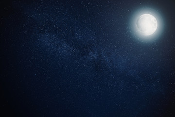 milky way star night sky with full moon for background