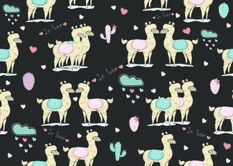 Cute Seamless Pattern with alpacas