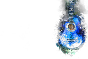 Abstract Guitar in the foreground Close up on Watercolor painting background..