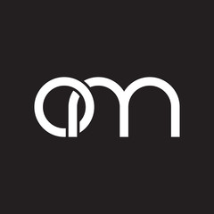 Initial lowercase letter om, overlapping circle interlock logo, white color on black background