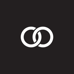 Initial lowercase letter oo, overlapping circle interlock logo, white color on black background