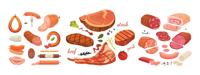 Different types of meat products set. Isolated set food on white background. Menu design in cartoon style.
