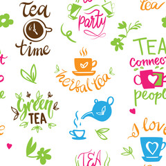 Teatime quote set vector lettering cup of tea vintage print tea time typography poster design teapot five o clock isolated illustration seamless pattern background