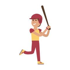 Man playing baseball cartoon