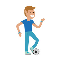 Man playing soccer cartoon
