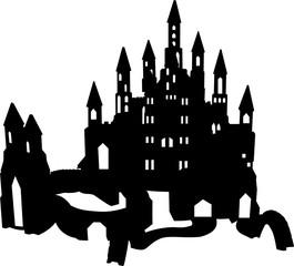 不思議な世界のお城のシルエット
