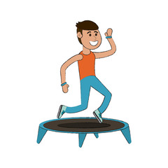 Man jumping on trampoline cartoon