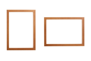 wooden photo frames isolated on the white background.