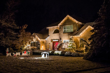 Decorated house for Christmas at night