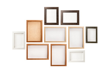 many photo frames isolated on the white background.