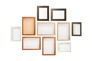 many photo frames isolated on the white background.