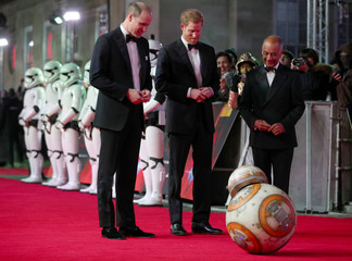 Britain's Prince William and Prince Harry, arrive for the European Premiere of 'Star Wars: The Last Jedi', at the Royal Albert Hall in central London