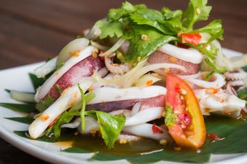 thai cooking, thai style spicy salad, thai food, local food, selective focus,