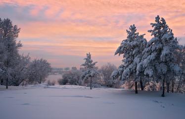 Sunset at the river Angara in town Irkutsk