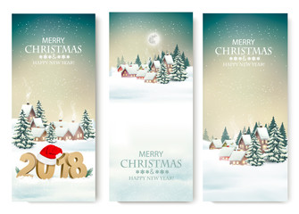 Three Holiday Christmas banners with a winter village and 2018. Vector