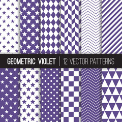 Ultra Violet Geometric Vector Patterns. Backgrounds in Purple Herringbone, Harlequin, Triangles, Chevron, Dots, Checks, Stars & Stripes. 2018 Color of the Year. Pattern Tile Swatches included.
