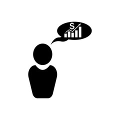 Man is thinking money growth chart icon. Strategy managment Icon. Premium quality graphic design. Signs, symbols collection, simple icon for websites, web design, mobile app