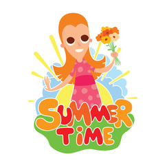 "Vector cartoon image of funny girl with long red hair with flowers in hand standing on the background of yellow sun with blue clouds, behind the colored lettering ""Summer time"" on a white background."