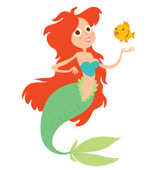 Vector cartoon image of a funny beautiful mermaid with red long wavy hair, light green tail and blue bra, smiling with a yellow fish near on a white background. Undersea world. Vector illustration.