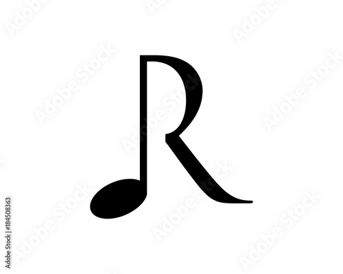 Simple Note Music Symbol Initial Letter R Vector Stock Image And