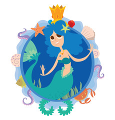Vector image of a blue round frame with marine symbols: shells, tentacles, crab, fish, algae and golden crown with cartoon image of a cute mermaid with blue curly hair in center on a white background.