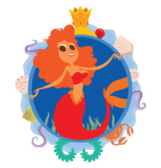 Vector image of a blue round frame with marine symbols: shells, tentacles, crab, fish, algae and golden crown with cartoon image of a cute mermaid with orange wavy hair in center on a white background