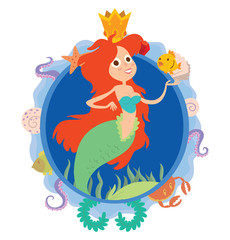 Vector image of a blue round frame with marine symbols: shells, tentacles, crab, fish, algae and golden crown with cartoon image of cute mermaid with red long wavy hair in center on a white background