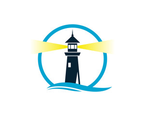 Circle Lighthouse on the Beach with Wave Water Sea Ocean Logo