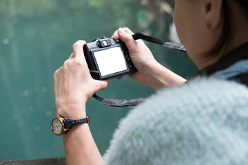woman take photo of green tranquil pond in park. people, travel concept