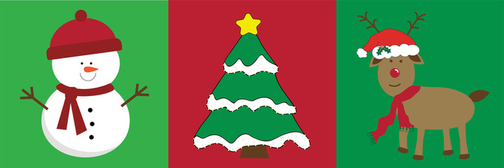 Merry Christmas Snowman Tree Reindeer