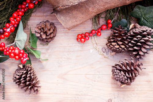 Country Christmas Background.Rustic Christmas Background Cypress Branch Fir Cone And