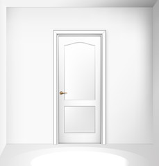 Closed white entrance door on white wall. Realistic vector illustration.
