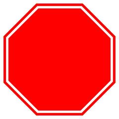 STOP blank sign in red octagon. Vector icon.