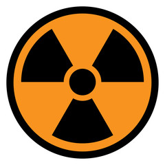 RADIATION sign in circle with yellow background. Vector icon.