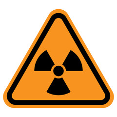 NUCLEAR POLLUTION sign in triangle with yellow background. Vector icon.