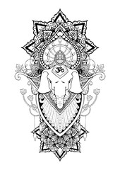 silhouette Ganesha mandala oriental drawing  illustration tattoo vector for shoulder and arm