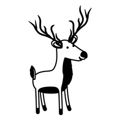 deer cartoon in black sections silhouette on white background vector illustration