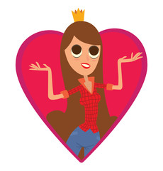Vector image of a red frame in the form of a heart symbol with a cartoon image of modern princess with long brown hair in blue jeans, red shirt and gold crown on a white background.