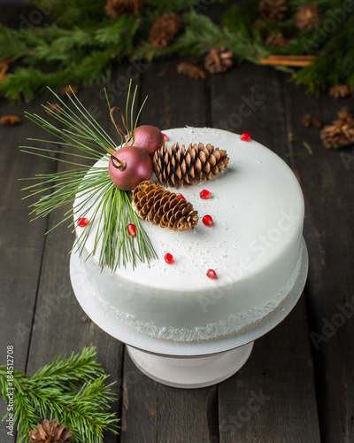 A Beautiful Chocolate Cake With Cheese Cream Coconut And Christmas